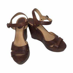 Frye Corrina Campus Brown Leather Wedge Sandals